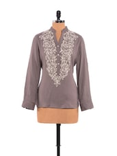 Roll-up Sleeves Top With Woolen Embroidery On The Front - URBAN RELIGION