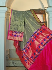 Grey And Bright Pink Silk Saree - KAASI