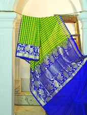 Light Green And Yellow Check Print Saree With Blue Border - KAASI