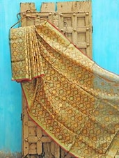Mustard And Green Kota Silk Saree - KAASI