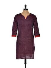 Navy Blue And Red Printed Long Kurta - Nanni Creations