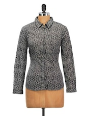 Floral Monochrome Polyester Shirt - Oxolloxo