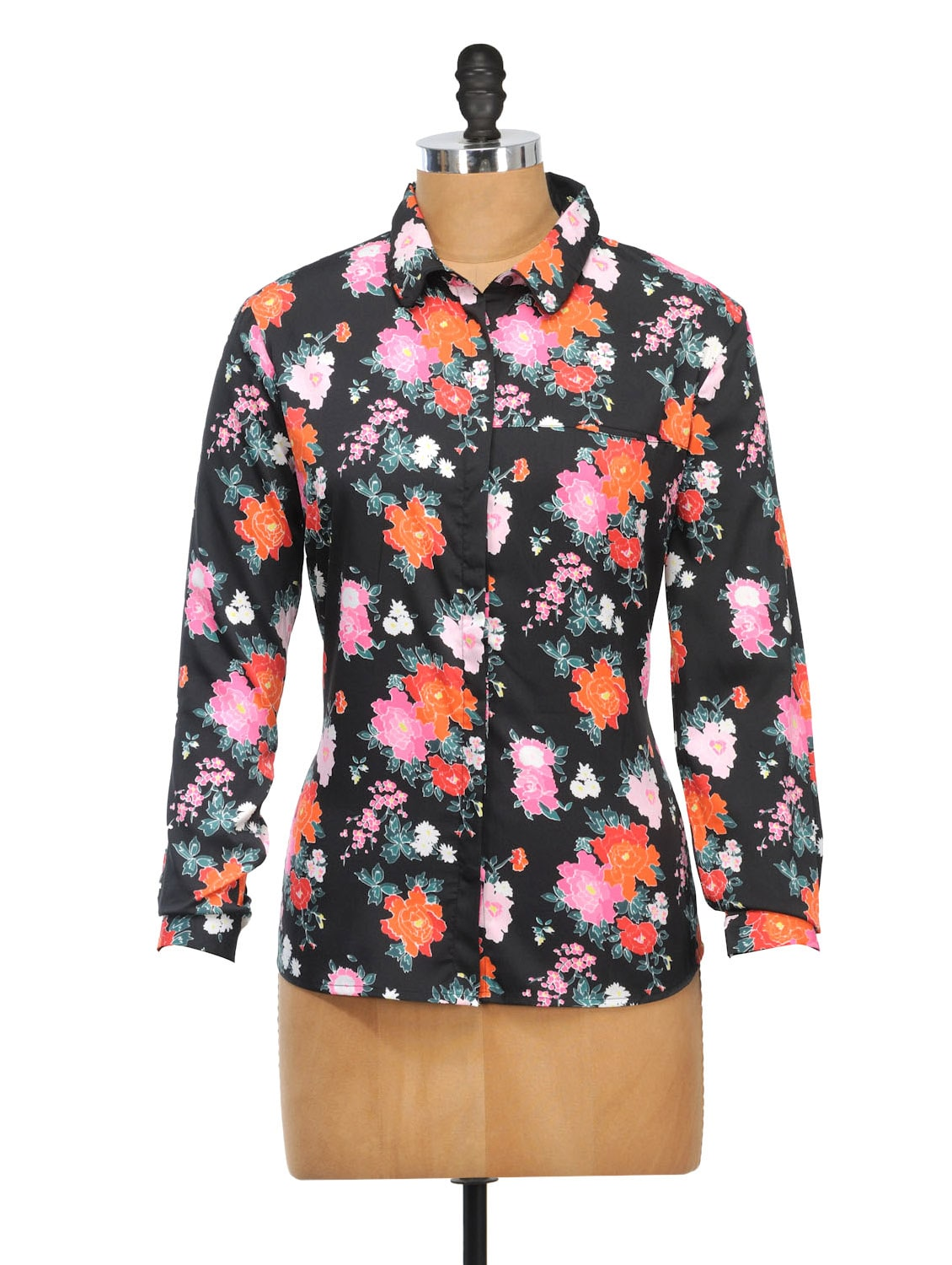 Floral Print Polyester Shirt - Oxolloxo
