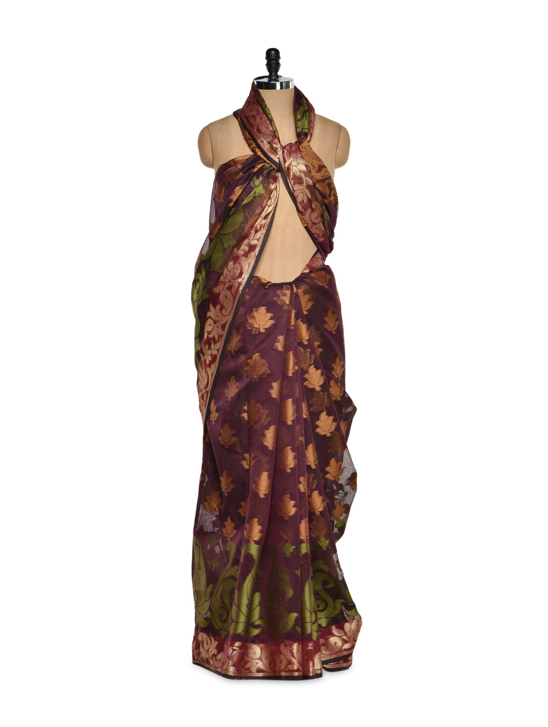 Wine Cotton Silk Saree With Zari Work - Bunkar