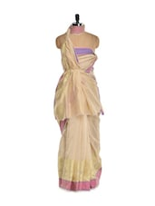 Beige Cotton Silk Saree With A Pink Border - Bunkar