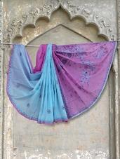 Blue & Purple Chikankari Saree - Ada