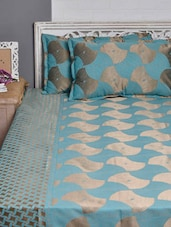 Blue And Copper Double Bed Cover Set - Natraj