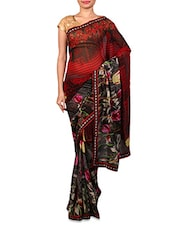 Red Floral Printed Georgette Saree - Fabdeal