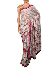 White Floral Printed Georgette Saree - By