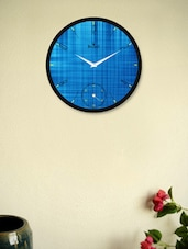 Glamorous Black Wall Clock With Stunning Blue Pattern - Regent