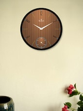 Black Wall Clock With Brown Wooden Pattern - Regent