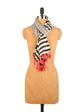 Beautiful Black And White Printed Scarf - Addons
