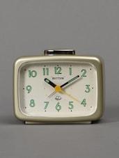 Metallic Gold Tone Square Basic Bell Alarm Clock - Rhythm