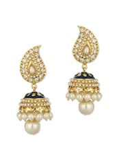 Gold Plated Paisley Shaped Earrings With CZ Stones - Voylla