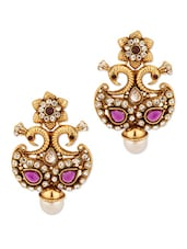 Gold Plated Twin Peacock Earrings - Voylla