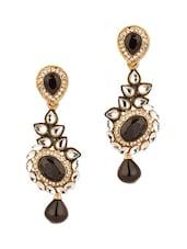 Gold Plated Kundan Floral Drop Earrings - Voylla