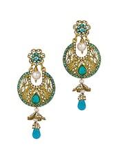 Gold Plated  Blue Dangler Drop Earrings - Voylla