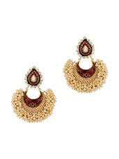 Gold Plated Drop Dangle Earrings Embellished With Meenakari Work - Voylla