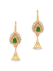 Yellow Gold Plated Dangler Earrings Studded With Green Colour Stones - Voylla
