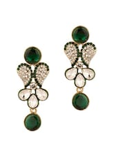 Gold Plated Exquisite Danglers Studded With Green Stones - Voylla