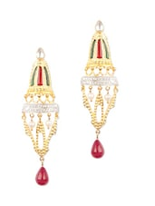 Gold Plated Traditional Earrings With Semi-Precious Stones And White Cz - Voylla