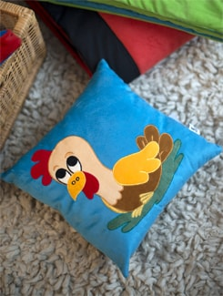 Rooster Applique Cushion In Blue - Akshu