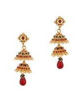 Festive Jhumki Earrings With Green And Red Stones - Voylla