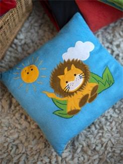 Lion And Sun Applique Cushion In Blue - Akshu