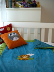 Lion And Sun Applique Baby Quilt In Blue - Akshu