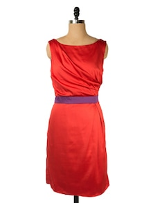 Bright Red Dress With Deep V-back - Ozel Studio