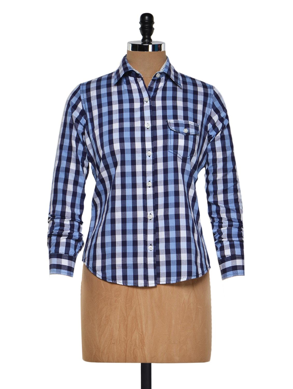 Blue And White Checkered Shirt - Fast N Fashion
