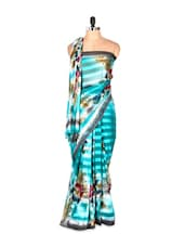 Fabulous Blue Printed Art Silk Saree - Saraswati