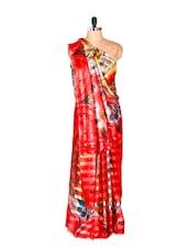 Bright In Red Printed Art Silk Saree - Saraswati