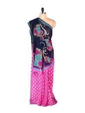 Gorgeous Pink Printed Art Silk Saree - Saraswati
