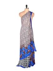 Amazing Grey Printed Art Silk Saree - Saraswati