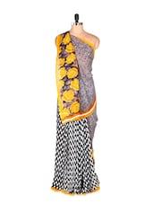 Stunning Yellow Rosette Printed Art Silk Saree - Saraswati