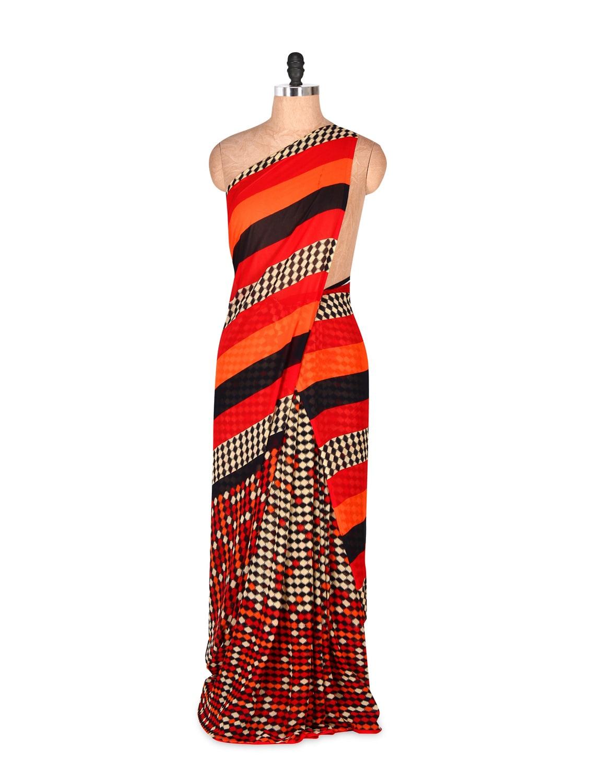 Fabulous Red Art Silk Saree With Matching Blouse Piece - Saraswati