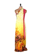 Amazing Yellow Art Silk Saree With Matching Blouse Piece - Saraswati