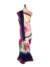 Lovely Designer Floral Printed Art Silk Saree With Matching Blouse Piece - Saraswati