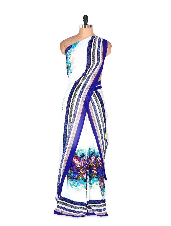 Amazing Blue And White Floral Printed Art Silk Saree With Matching Blouse Piece - Saraswati