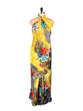 Floral Printed Yellow Printed Art Silk Saree With Matching Blouse Piece - Saraswati