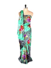 Amazing Green Garden Printed Art Silk Saree With Matching Blouse Piece - Saraswati