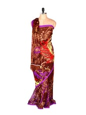 Abstract Printed Art Silk Saree With Matching Blouse Piece - Saraswati