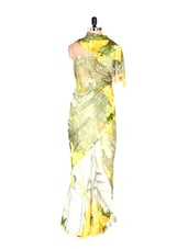 Fabulous Yellow Printed Yellow Art Silk Saree With Matching Blouse Piece - Saraswati