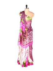 Printed Art Silk Saree With Matching Blouse Piece - Saraswati