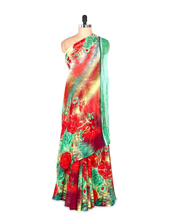Gorgeous Floral Printed Red And Green Art Silk Saree With Matching Blouse Piece - Saraswati