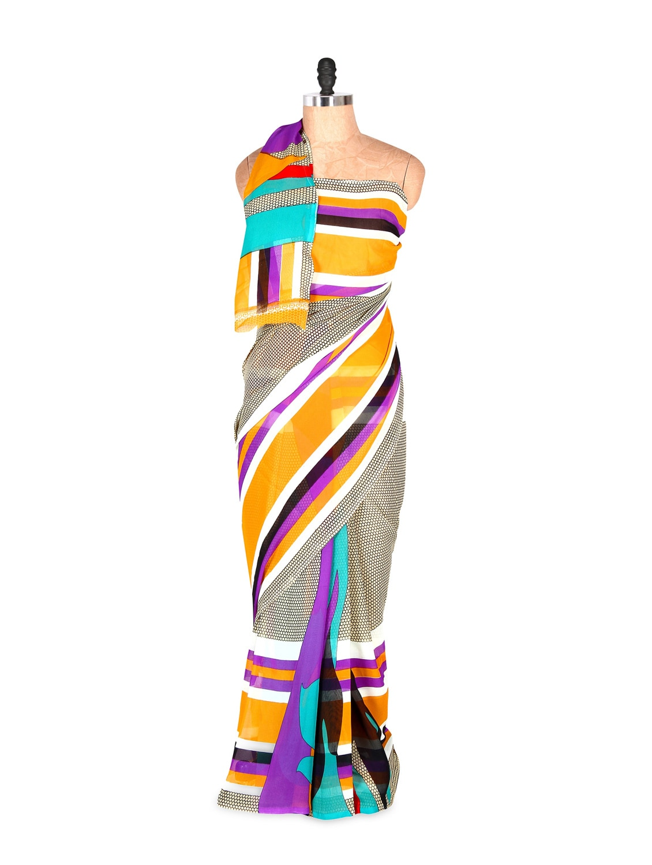 Smart And Elegant Yellow Printed Art Silk Saree With Matching Blouse Piece - Saraswati
