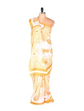 Amazing White Printed Art Silk Saree With Matching Blouse Piece - Saraswati