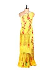 Amazing Yellow Printed Art Silk Saree With Matching Blouse Piece - Saraswati