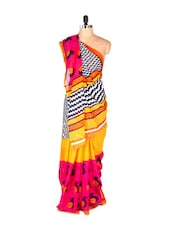 Amazing Yellow And Pink Printed Art Silk Saree With Matching Blouse Piece - Saraswati